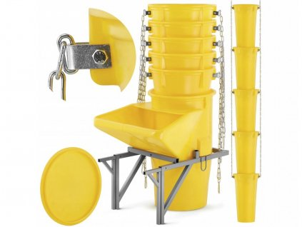 9556 12 kompletni set 19ks 17m shoz na stavebni sut vc uchytu shozu nasypky a vika zluty