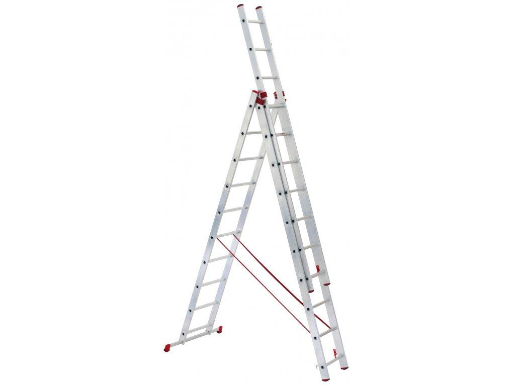 PROFI žebřík 3x7 hliníkový, 3-dílný, pracovní výška až 5,3m, ALOSS