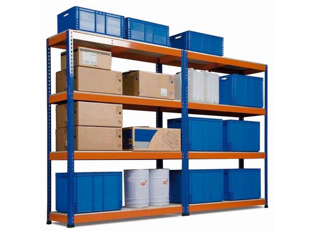 !!! Akčný balíček : 10x  Regál priemyselný PROFESIONÁLNY 1800×1800×500 mm lakovaný 4-policový, nosnosť 1600kg