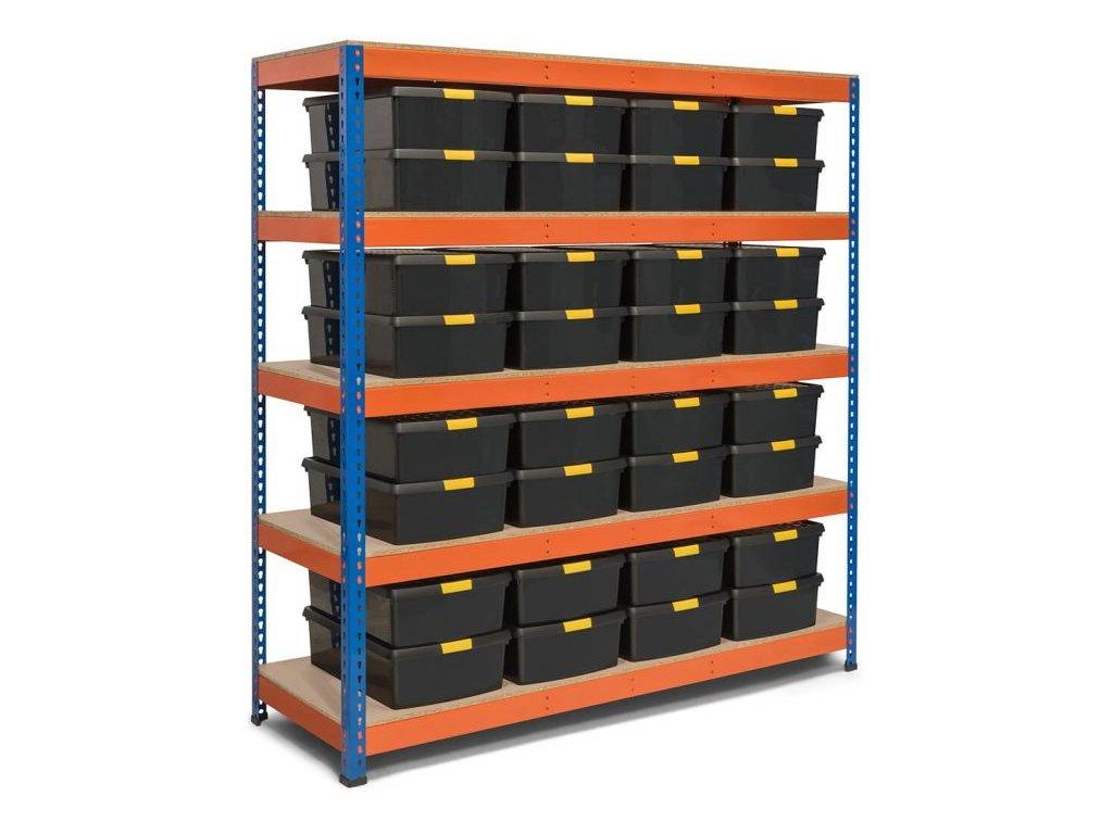 !!! Akčný balíček : 10x  Regál priemyselný PROFESIONÁLNY 2160×1400×700 mm lakovaný 5-policový, nosnosť 2000kg
