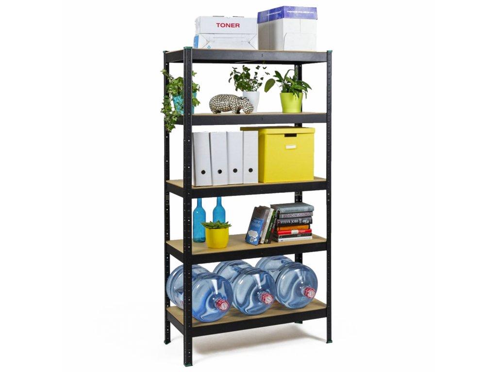 !!! Akčný balíček: 5x regál 1800x900x300mm lakovaný 5-policový, nosnosť 875 kg - ČIERNY