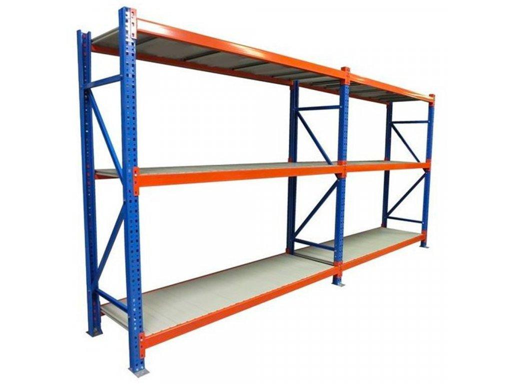 Nekonečný priemyselný PROFESIONÁLNÝ dvojregál 2000x3660x600 6-policový s nosnosťou 5400kg s možnosťou rozšírenia