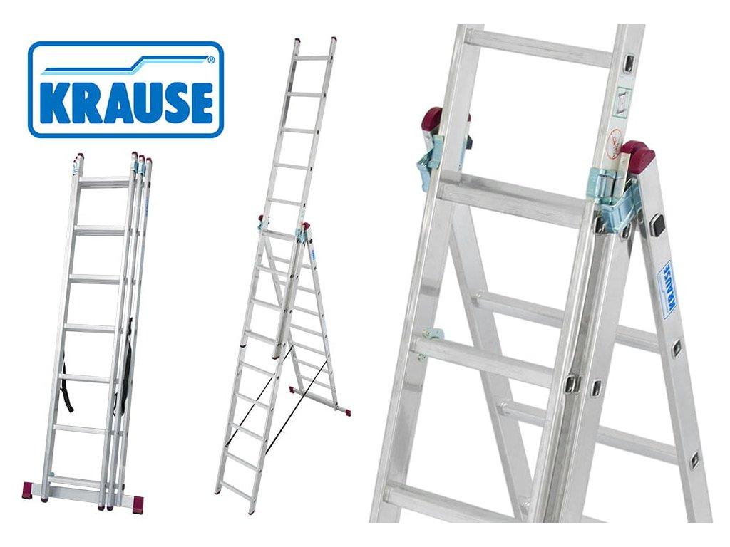 Rebrík 3x8 hliníkový KRAUSE, 3-dielny, pracovná výška až 5,4m
