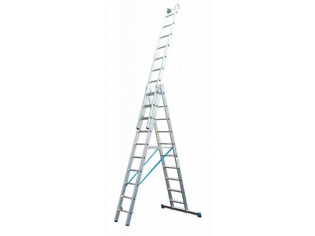 Rebrík 3x12 hliníkový KRAUSE, 3-dielny, pracovná výška až 9,3m