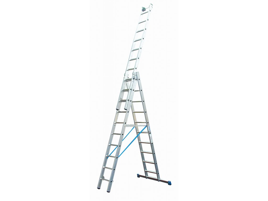 Rebrík 3x14 hliníkový KRAUSE, 3-dielny, pracovná výška až 10,9m
