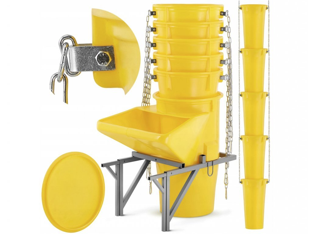 9526 12 kompletni set 9ks 7m shoz na stavebni sut vc uchytu shozu nasypky a vika zluty