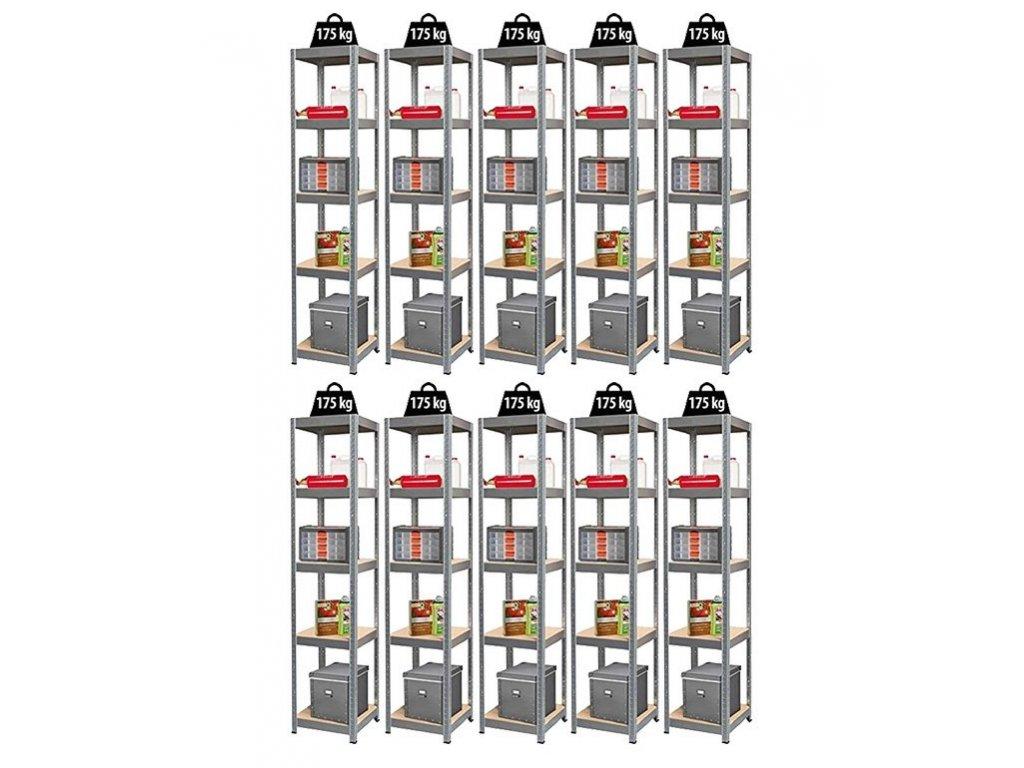 623 11 akcny balicek 10x regal 1800x400x400 mm zinkovany 5 policovy nosnost 875 kg