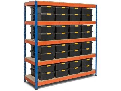 !!! Akčný balíček : 10x  Regál priemyselný PROFESIONÁLNY 2160×1400×700 mm lakovaný 6-urovňový, nosnosť 2000kg