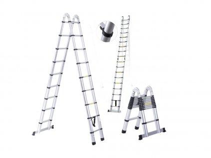 PROFI teleskopický rebrík 2x9, pracovná výška 6,9m