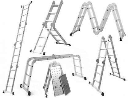 Hliníkový kĺbový rebrík 4x3 + platforma