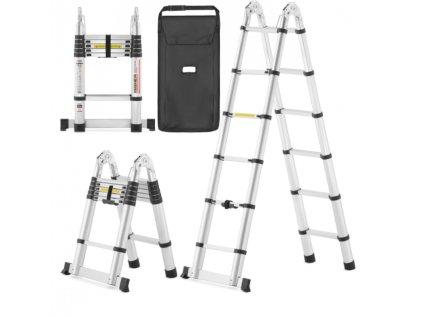 PROFI teleskopický rebrík 2x6, pracovná výška 5,1m