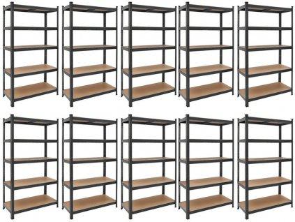!!! Akčný balíček: 10x regál 2000x1000x600mm lakovaný  5-policový, nosnosť 875 kg