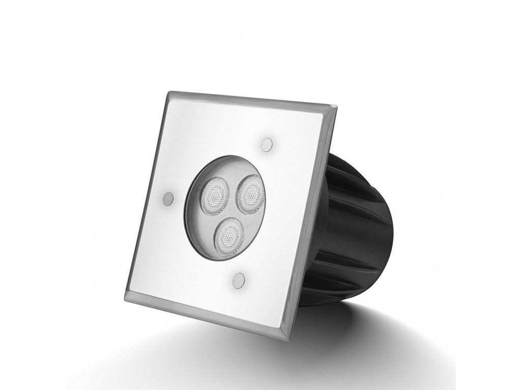 Zápustné zahradní LED světlo do země, hranaté 3W 24V