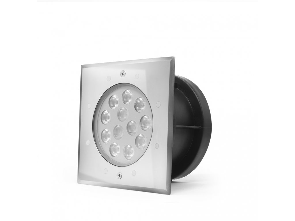 Zápustné zahradní LED světlo do země, hranaté 18W RGB 24V