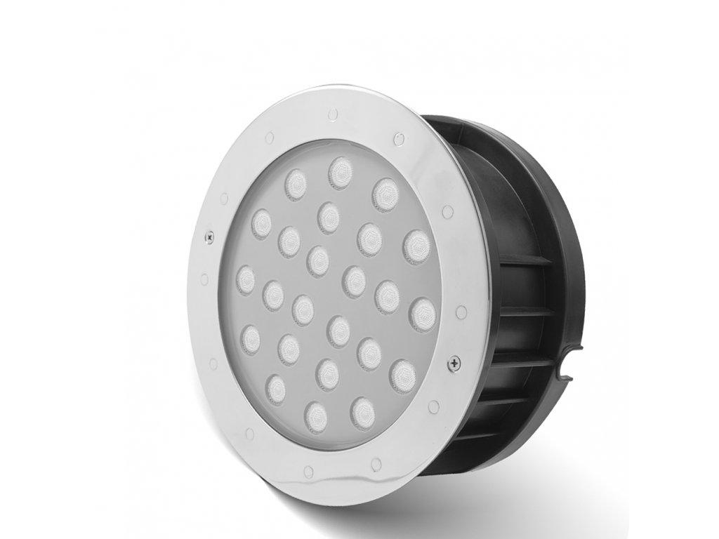 Zápustné zahradní LED světlo do země, kulaté 24W RGB 24V