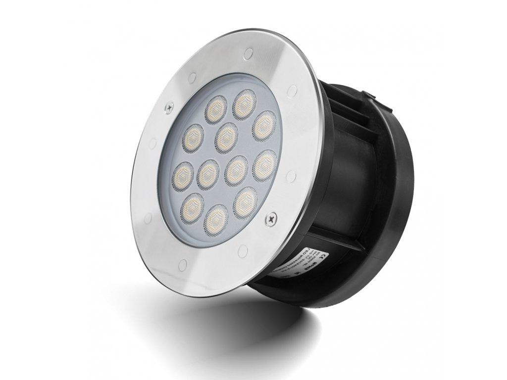 Zápustné zahradní LED světlo do země, kulaté 9W RGB 24V