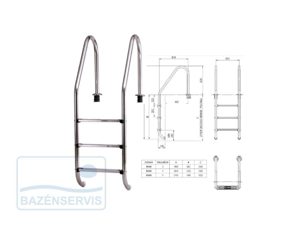 Standart V2A - rebrík do bazénu