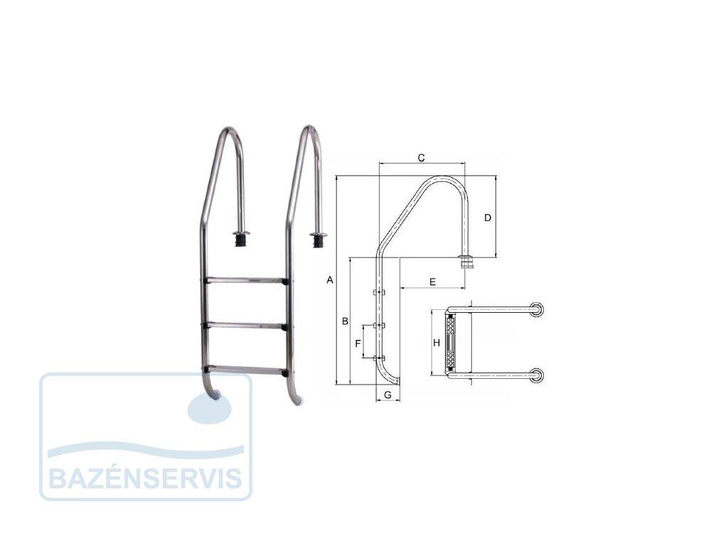 STANDART - Rebrík do bazénu  - 2 stupne, V2A