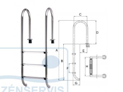 MURO, nerez kvalita V4A - Rebrík do bazénu so slanou vodou
