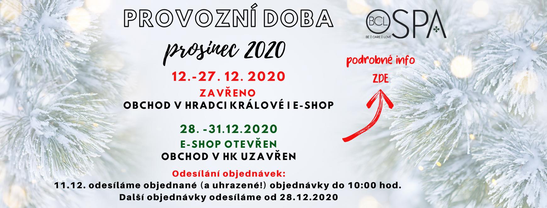 Provozní doba Vánoce 2020