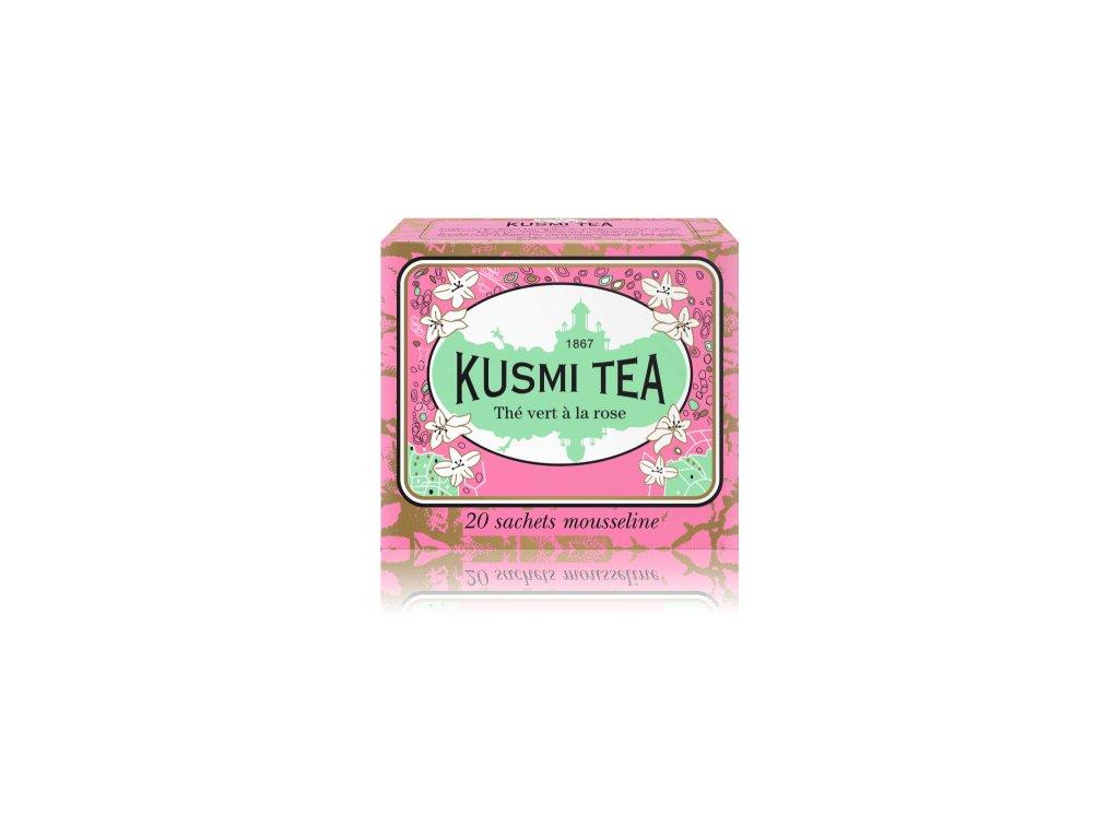 Kusmi Tea Rose green tea 20 mušelínových sáčků 44g