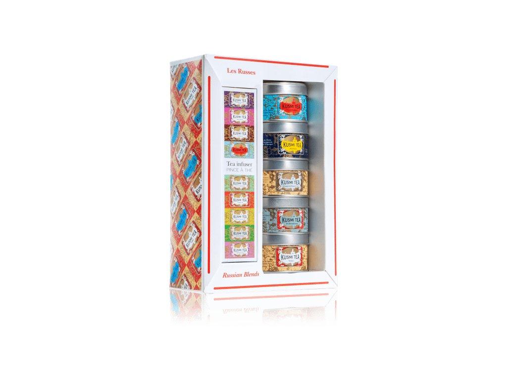 Kusmi Tea Russian Teas dárkový set se sítkem, 5 x 25 g