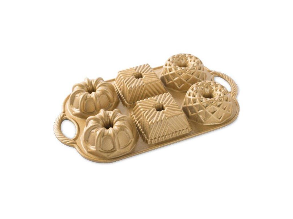Forma na malé bábovky, zlatá 3 tvary