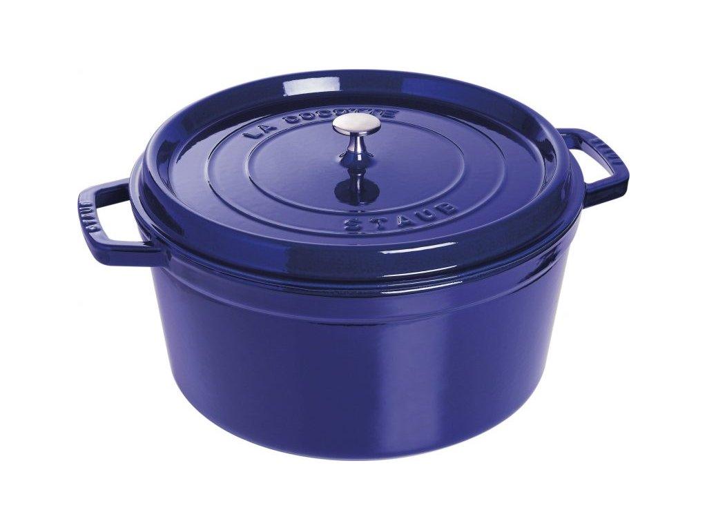 STAUB Cocotte hrnec kulatý 30 cm/8,35l tm. modrý