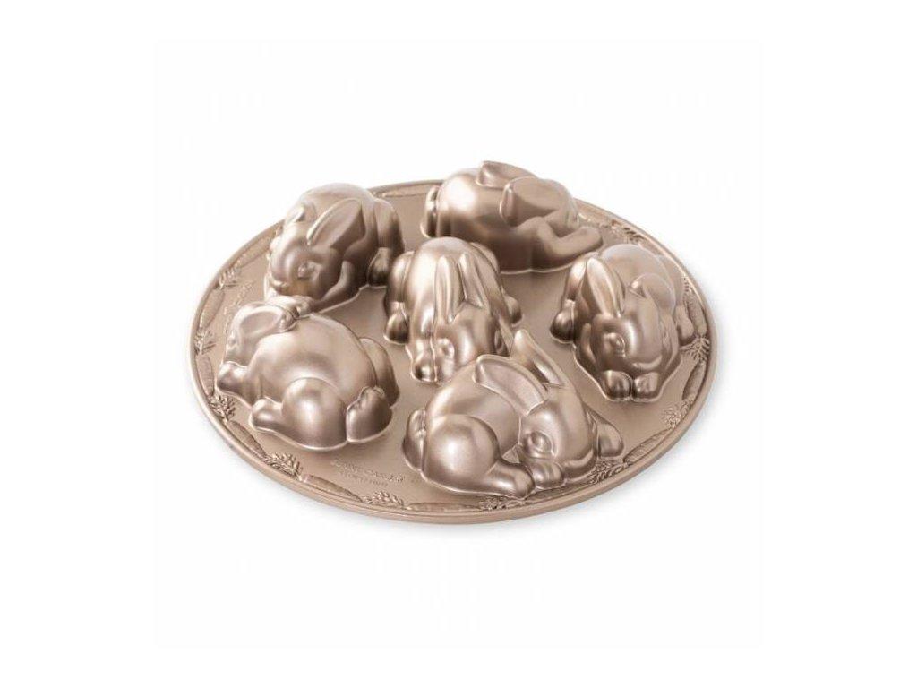 Forma na 6 velikonočních zajíčků Nordic Ware Baby Bunny, toffee, 1l
