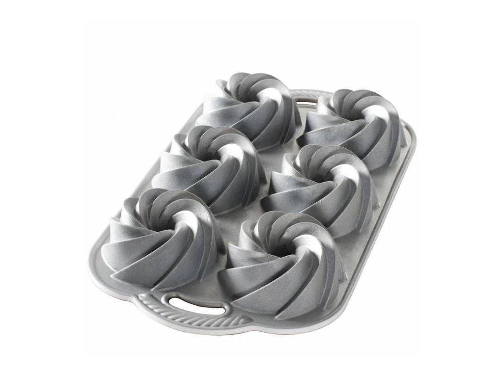 Forma na mini bábovky Nordic Ware Heritage, 6 formiček, stříbrná