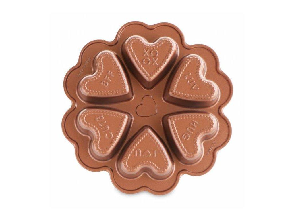 Forma na mini bábovky Nordic Ware Conversation Heart, 6 formiček, měděná