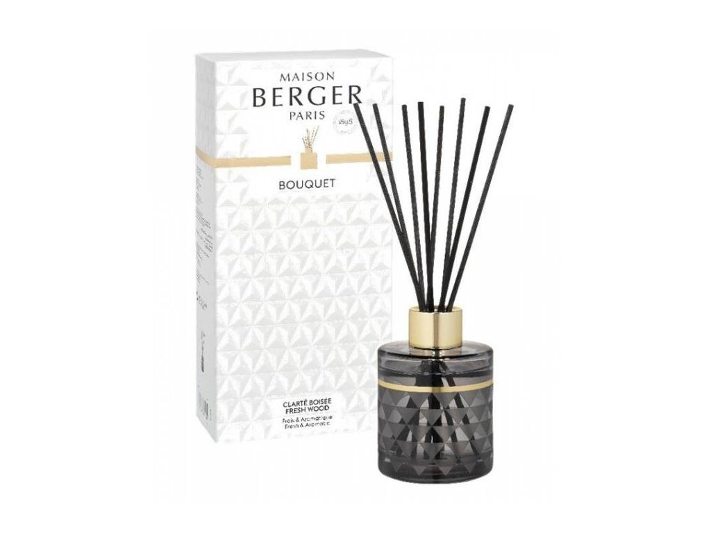 BERGER C12020 Clarity flakon s difuzérem šedý + Čerstvé dřevo 115ml