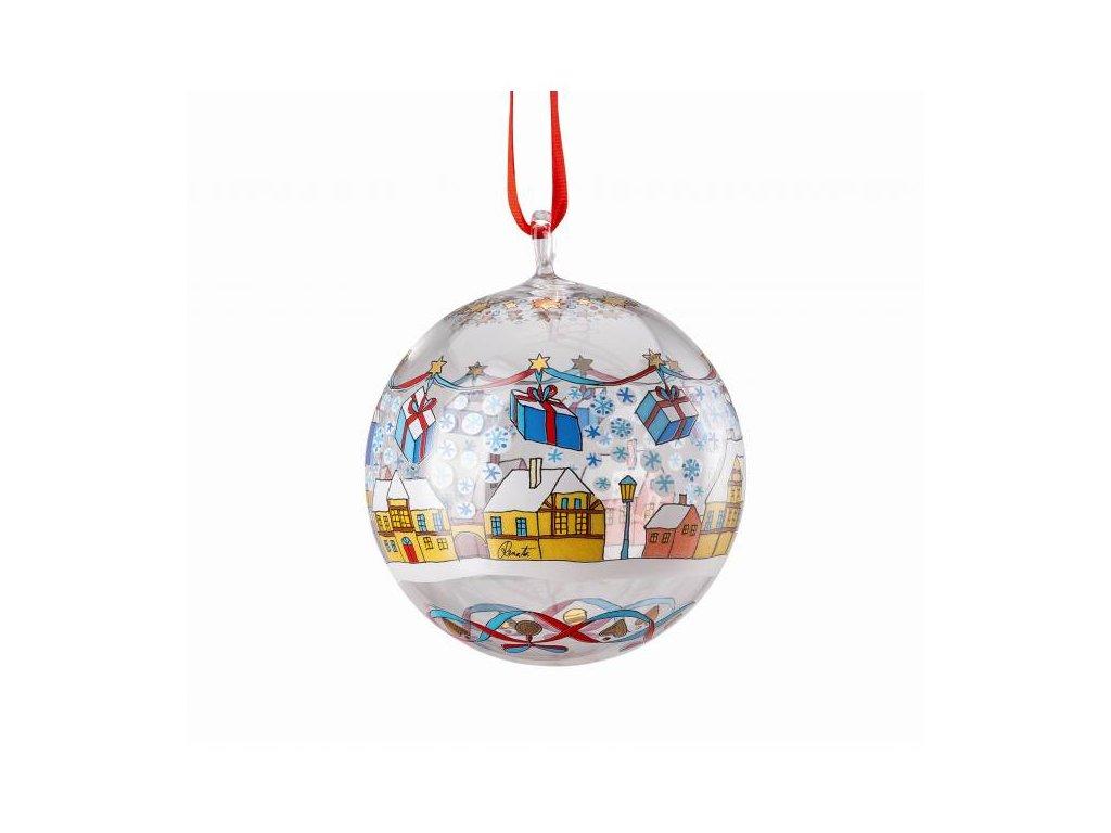 Rosenthal skleněná koule na stromeček, Vánoční trh, Ø 6 cm