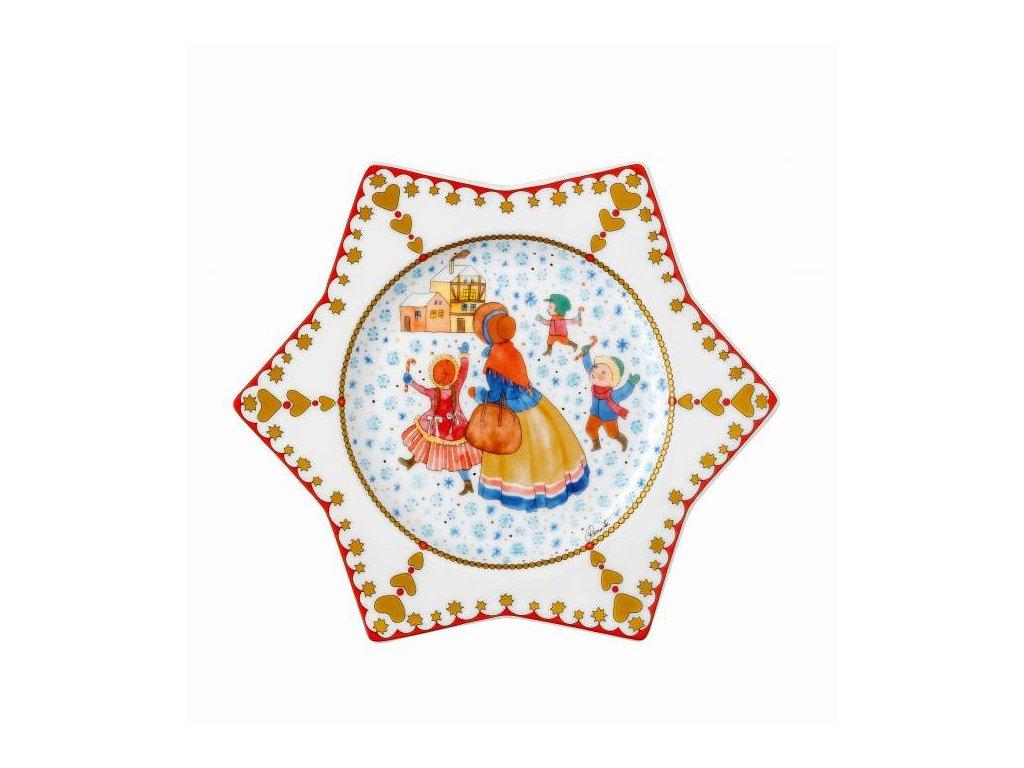 Rosenthal vánoční talíř ve tvaru hvězdy, Vánoční trh, Ø 20 cm