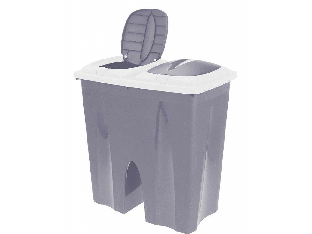 Odpadkový koš na tříděný odpad 2 x 25 l šedá EXCELLENT KO-Y54230710se