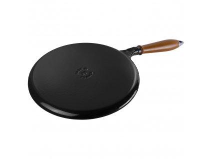 STAUB Palačinková pánev černá, dřevěné madlo 28cm
