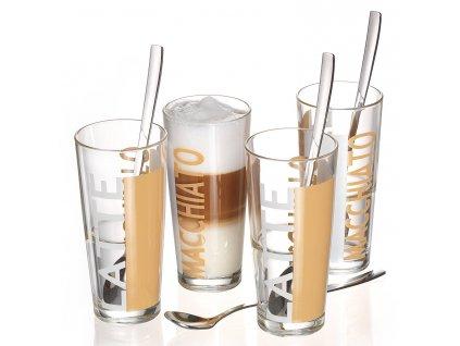 Sklenice na Latte Gl. Java, 4 ks sklenic a lžiček