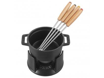 Mini fondue set Staub, 4ks vidličky 10 cm/0,25l, černý