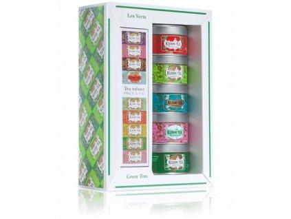 Kusmi Tea Green Teas dárkový set se sítkem, plechovka 5x25g