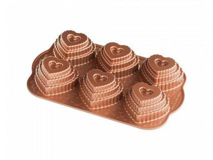 Vrstvené srdíčko plát se 6 formičkami, měděná