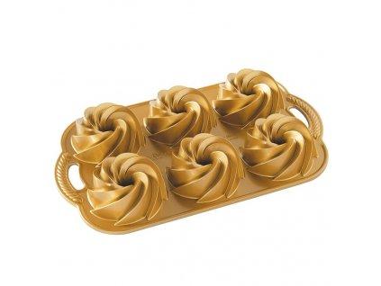 Forma Heritage na mini bábovky plát se 6 formičkami, zlatá