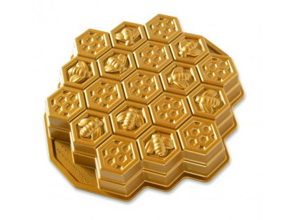 Forma na bábovku včelí plástev zlatá