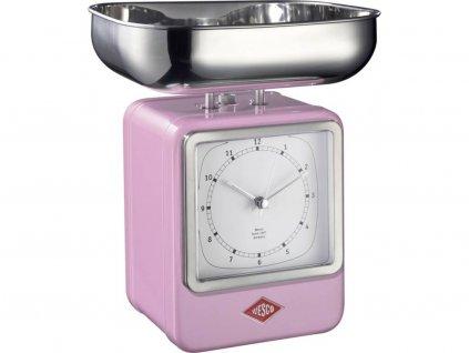 WESCO kuchyňská váha s hodinami Retro scale do 4kg růžová