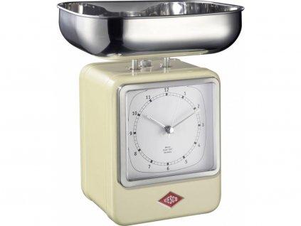 WESCO kuchyňská váha s hodinami Retro scale do 4kg mandlová