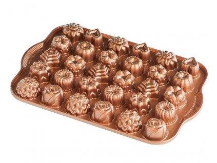 Nordic Ware minidorty a čokolády plát s 30 formičkami měděná
