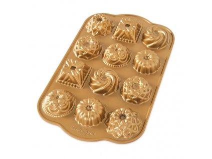 Nordic Ware minibábovky plát s 12 formičkami, zlatá