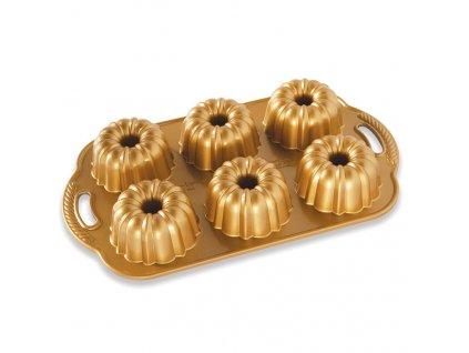 Minibábovky Anniversary plát se 6 formičkami, zlatá