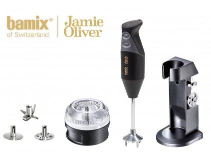 Bamix tyčový mixér, Jamie Oliver M200, černý + Bamix food processor s přítlačným diskem