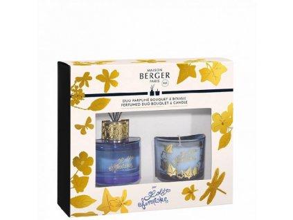 BERGER Lolita Lempicka  Dárkový set difuzér 80ml + svíčka 80g modrý