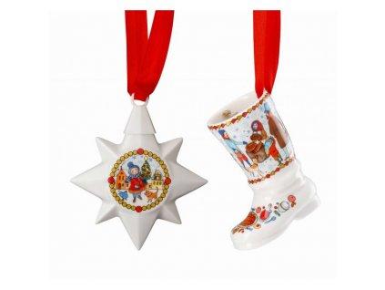 Rosenthal sada porcelánová mini hvězda a mini botička na stromeček Vánoční trh